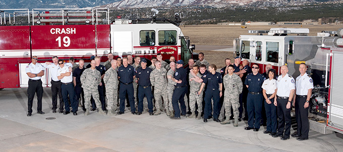 Group photo of the fire and rescue team.