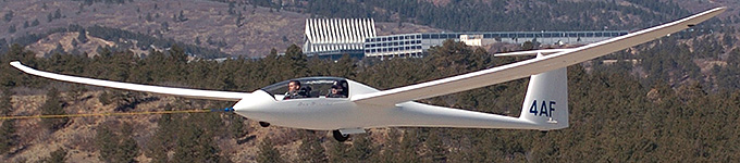Sailplane in flight at the Academy