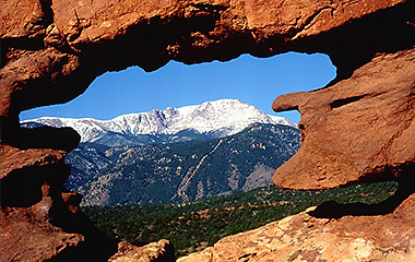 image of The Garden of the Gods and with Pikes Peak in the backgroung